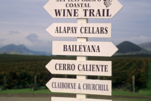 SLO Coastal Wine Trail Sign in Edna Valley