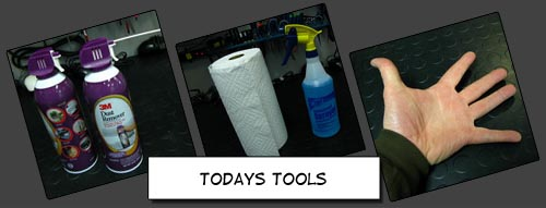Canned air, paper towels, & hands to clean your computer.