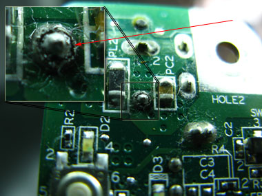 power jack with a broken solder point