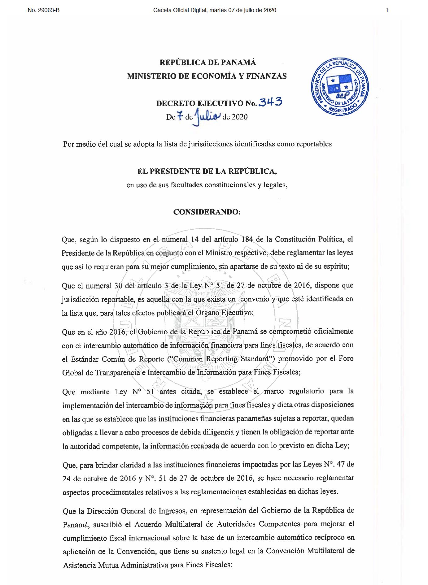 Decreto Ejecutivo No. 343 de 7 de julio de 2020