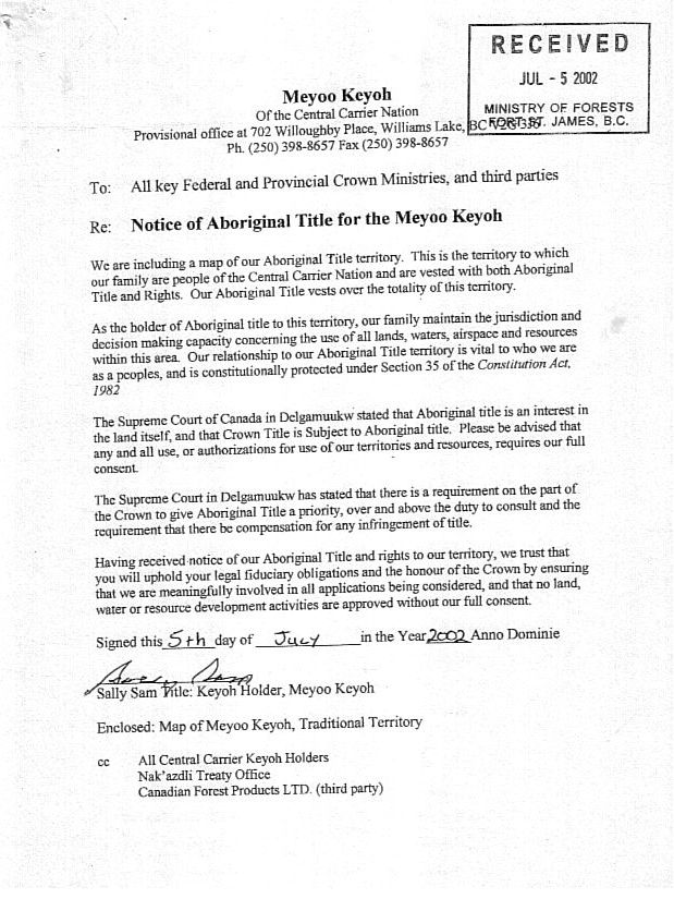 Notice of Aboriginal Title