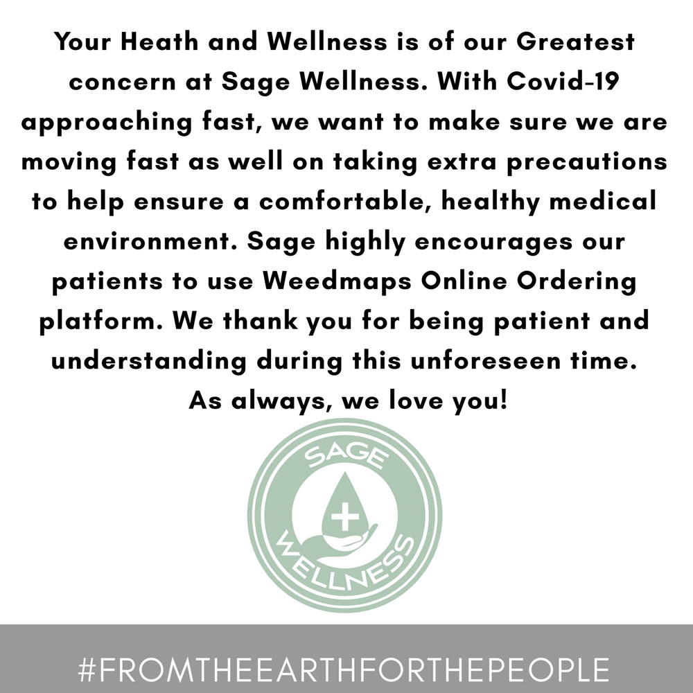 Sage Wellness' COVID-19 statement encouraging patients to use Weedmaps online ordering platform