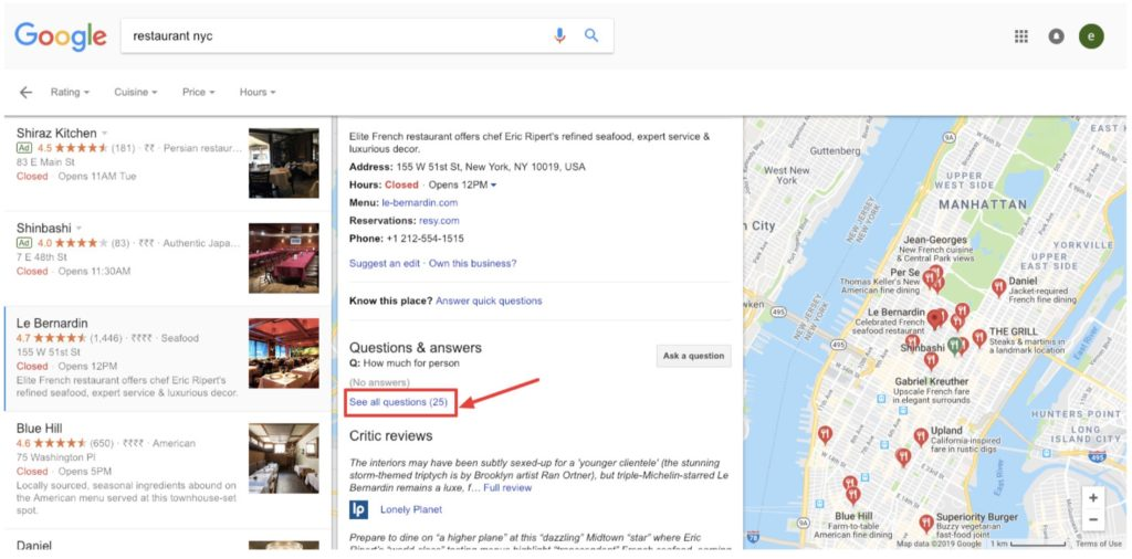 google my business map
