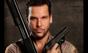 portrait of actor with guns