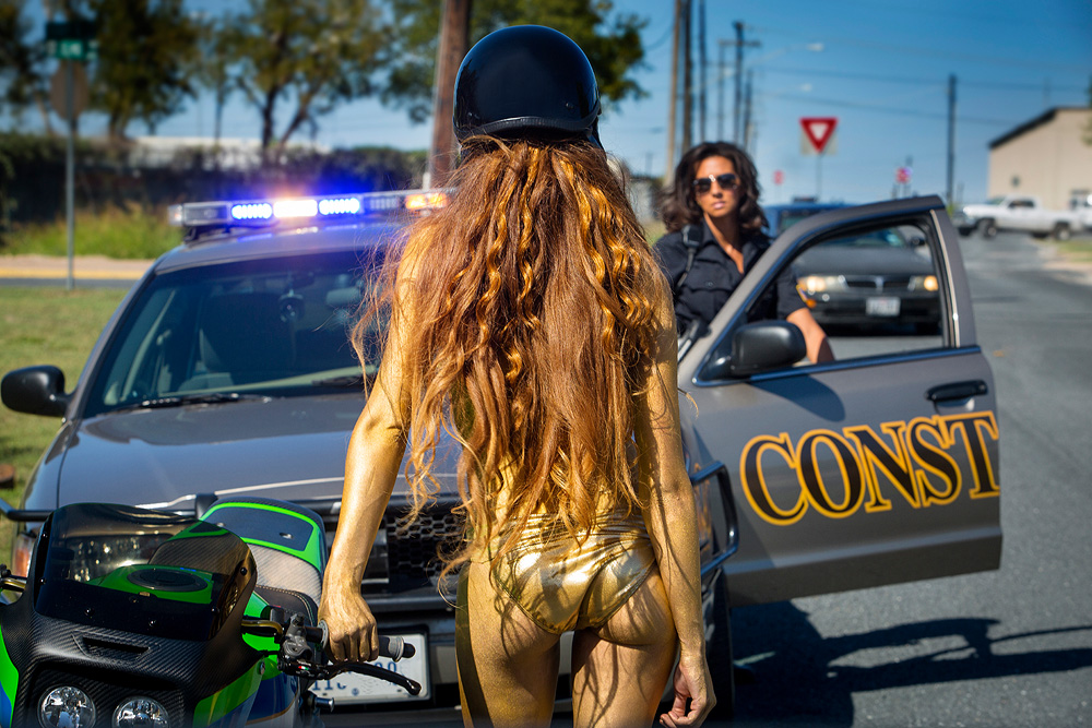 cop pulling over motorcycle babe