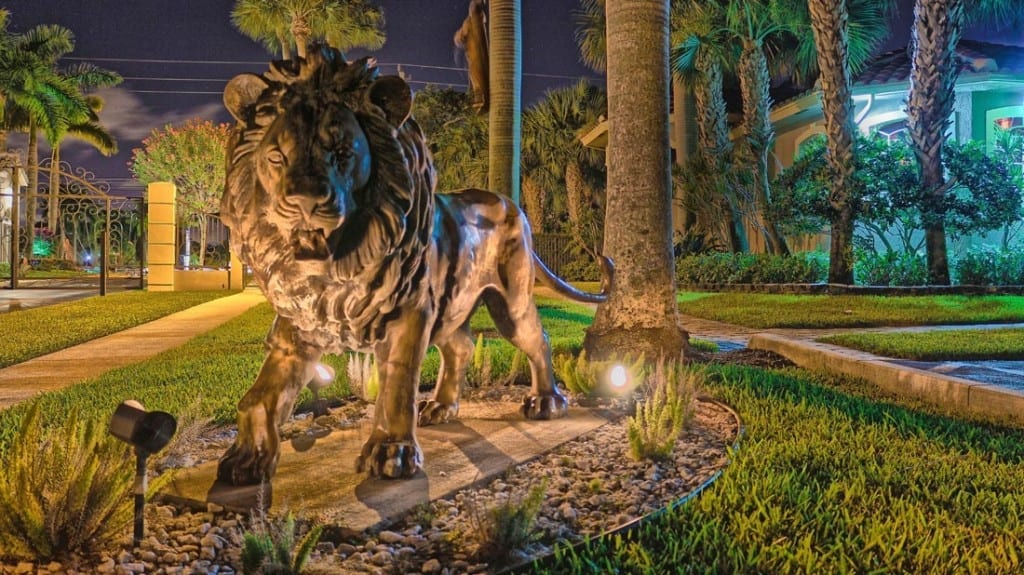 statues fountains outdoor led lighting service