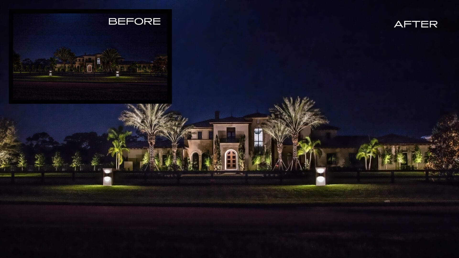 Illumination FL - Landscape Lighting -Before and After