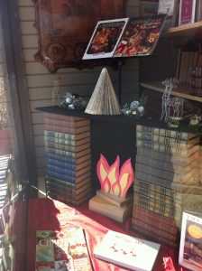 Fireplace made of books
