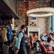 Bustling hotel lobby at The Hoxton, Shoreditch in East London