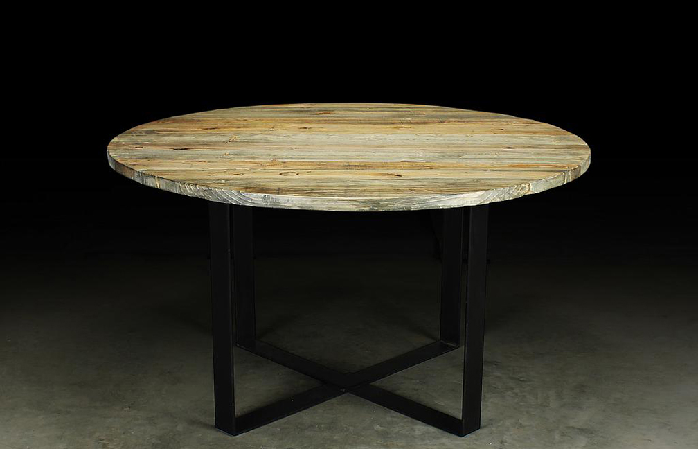 "T1656: Typically 42"" to 60"" in diameter, Shown in Mountain Cedar Stain with Rubbed Black Steel Base"