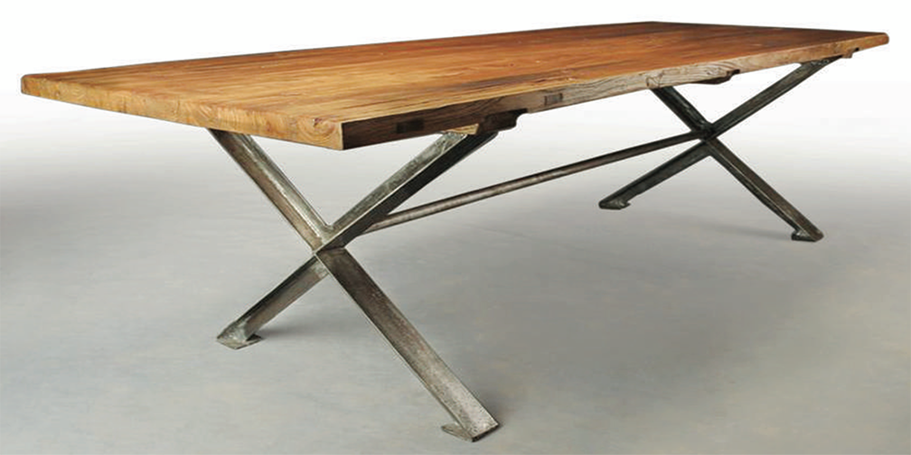 T4402: Typically 7' to 10' in length, Shown in Hazelnut Stain with Brushed Steel Base