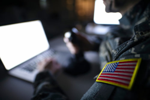 United States military using a laptop