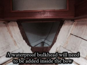 Bow where waterproof bulkhead is required