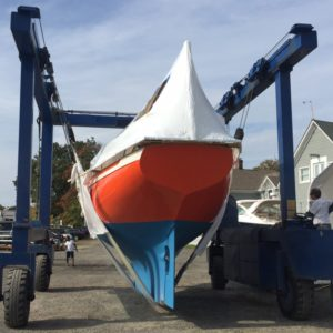 Puffin leaving paint shop from stern