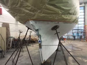 Puffin jack stands before bottom paint work