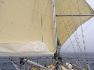 Sailing in the foggy English Channel is never boring