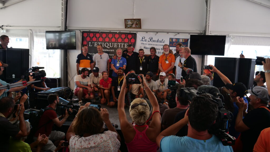 One of the press conferences before the race start