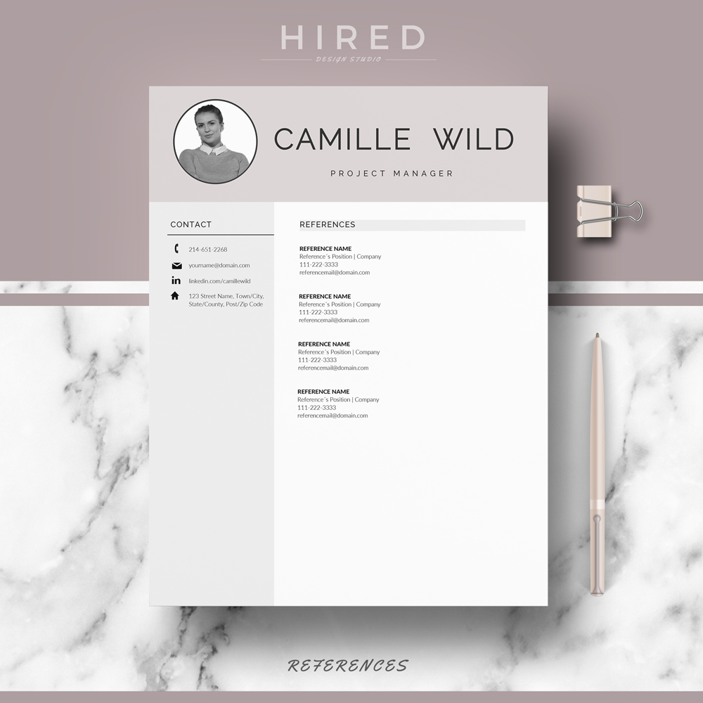 """Professional & Modern Resume Template for MS Word: """"Camille"""""""