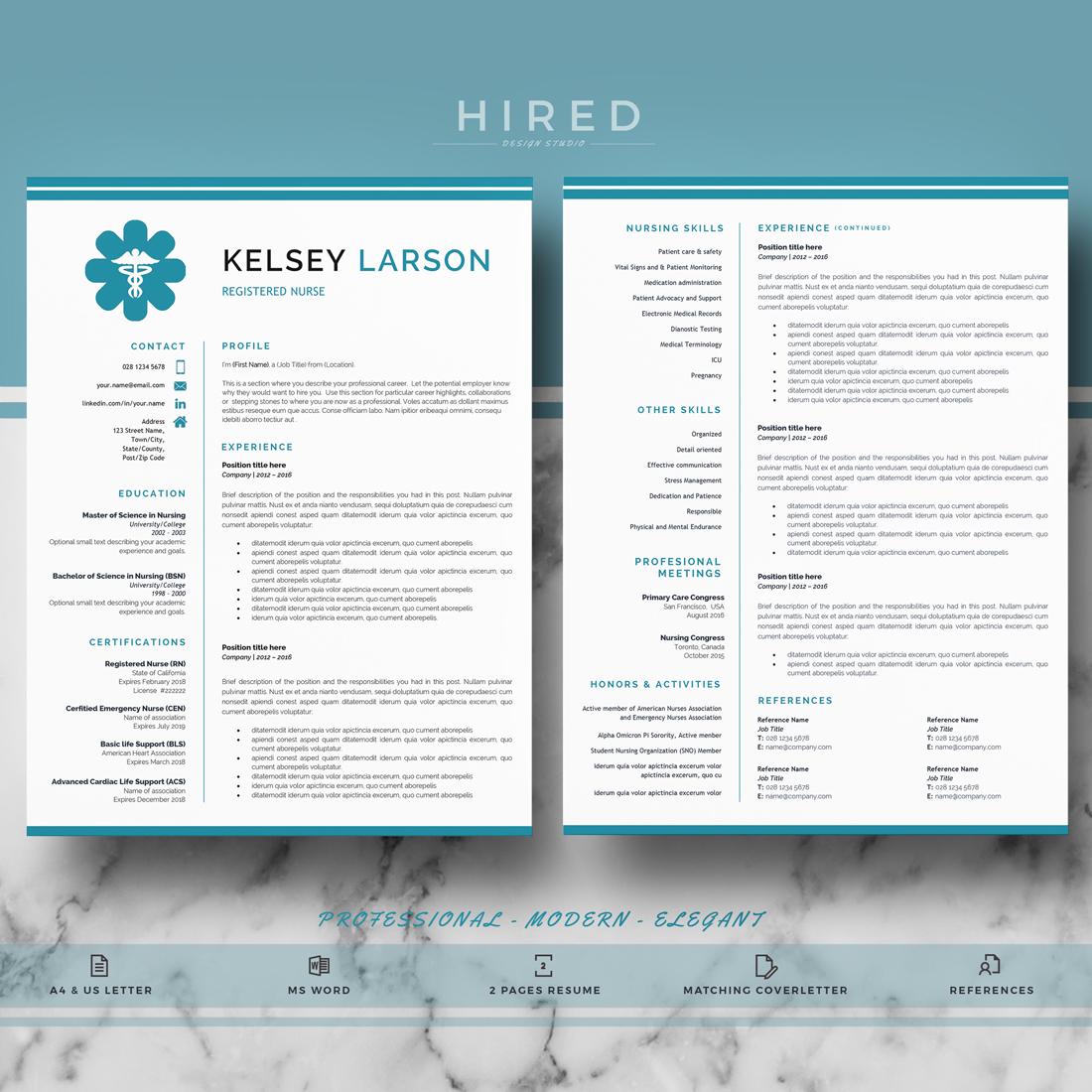 "Nurse Resume Template for MS Word: ""Kelsey"""
