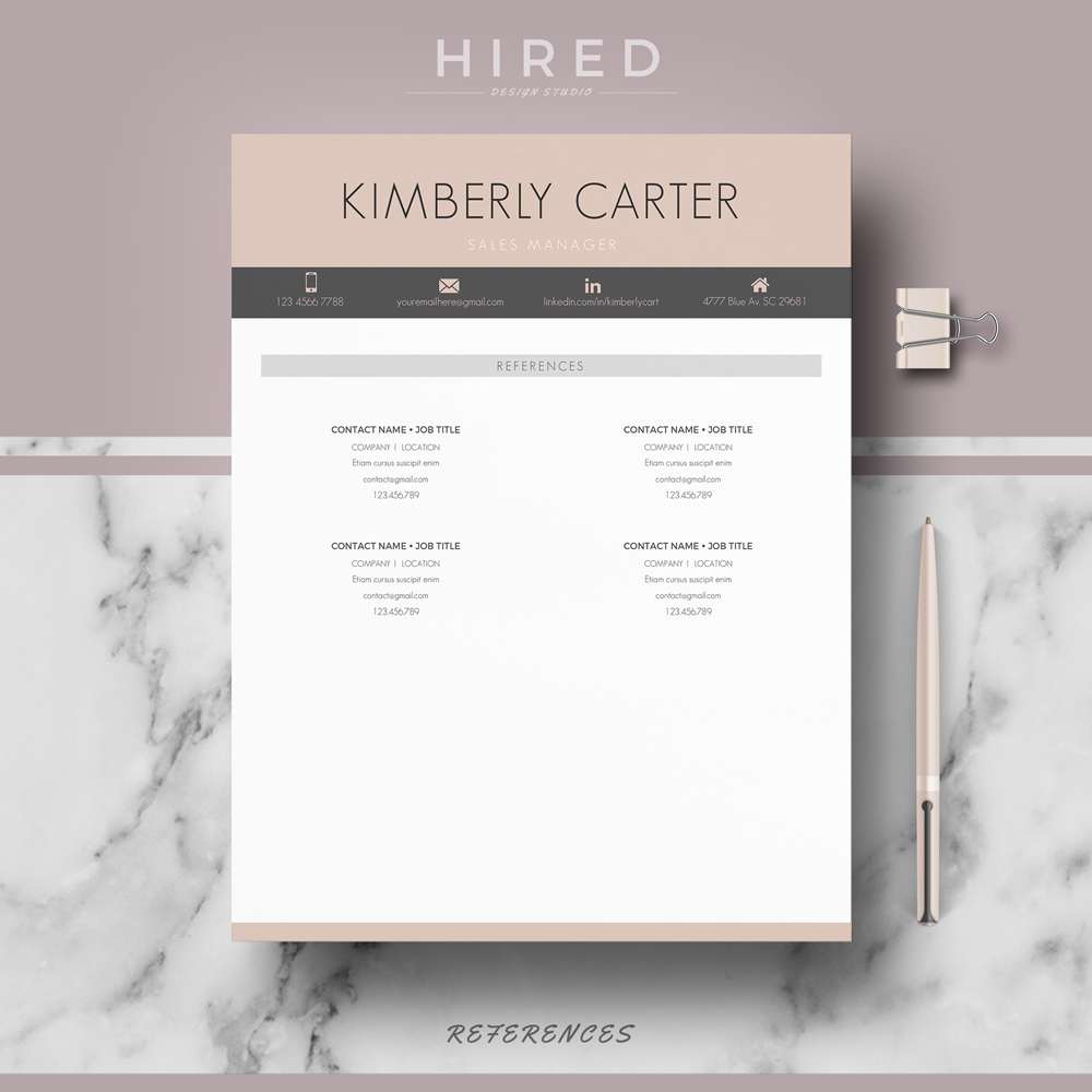 """Modern Resume Template for MS Word: """"Kimberly"""""""