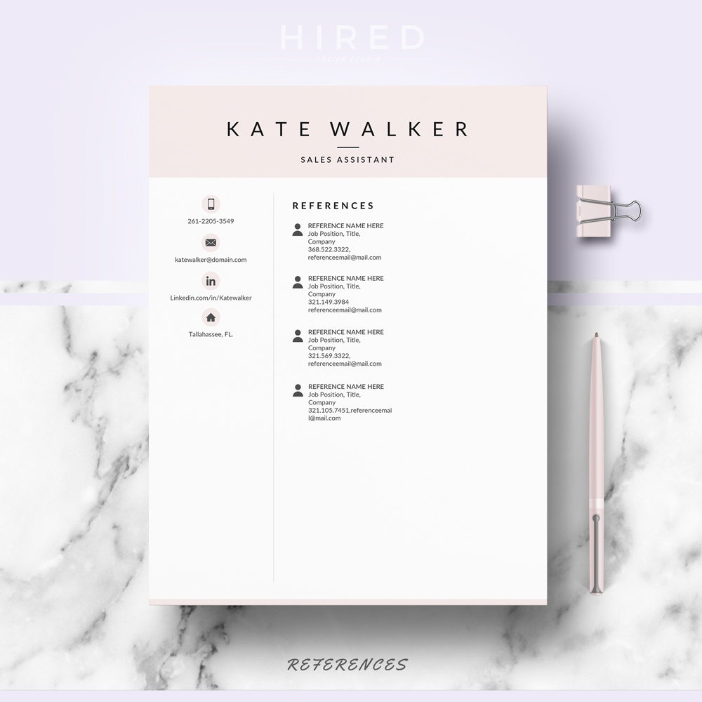 """Creative Resume Template for MS Word: """"Kate"""""""
