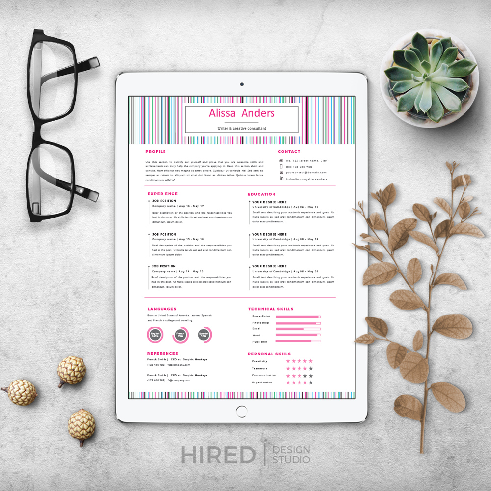 """Creative Resume Template for MS Word: """"Alissa"""""""