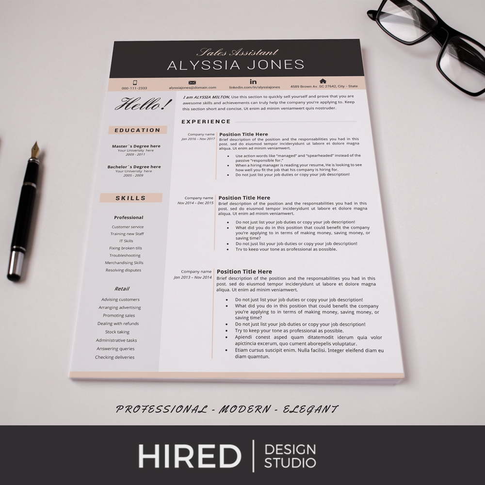 """Professional & Modern Resume Template for MS Word: """"Alyssia"""""""