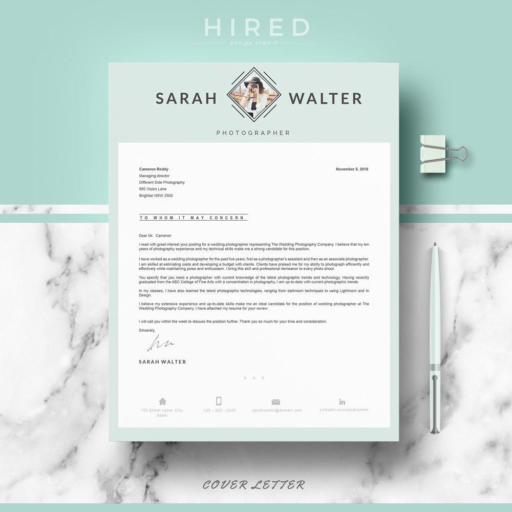 """Modern Resume Template for MS Word: """"Sarah"""""""