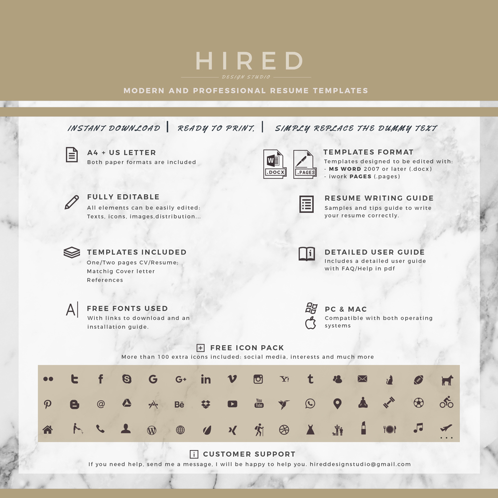 """Legal Resume Template for MS Word: """"Claire"""""""