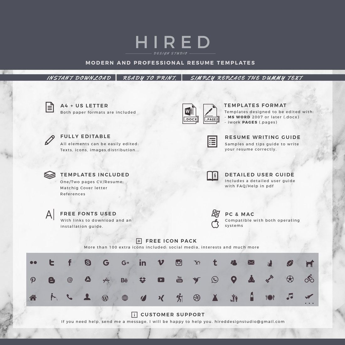 """Professional, Modern and Minimalist Resume Template for MS Word: """"Mathew"""""""