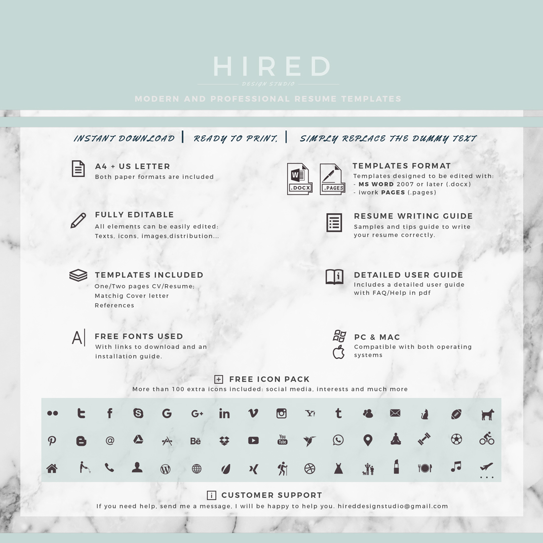 """Modern and Professional Resume Template for MS Word: """"Elissa"""""""