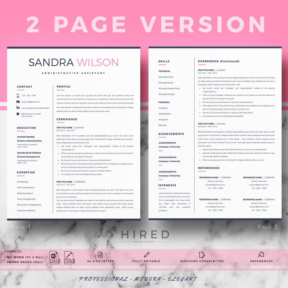 "Creative Resume Template for MS Word: ""Sandra"""