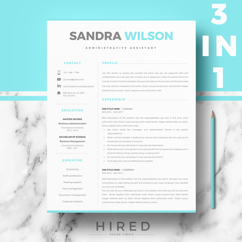 """Professional & Modern Resume Template for MS Word: """"Sandra"""""""
