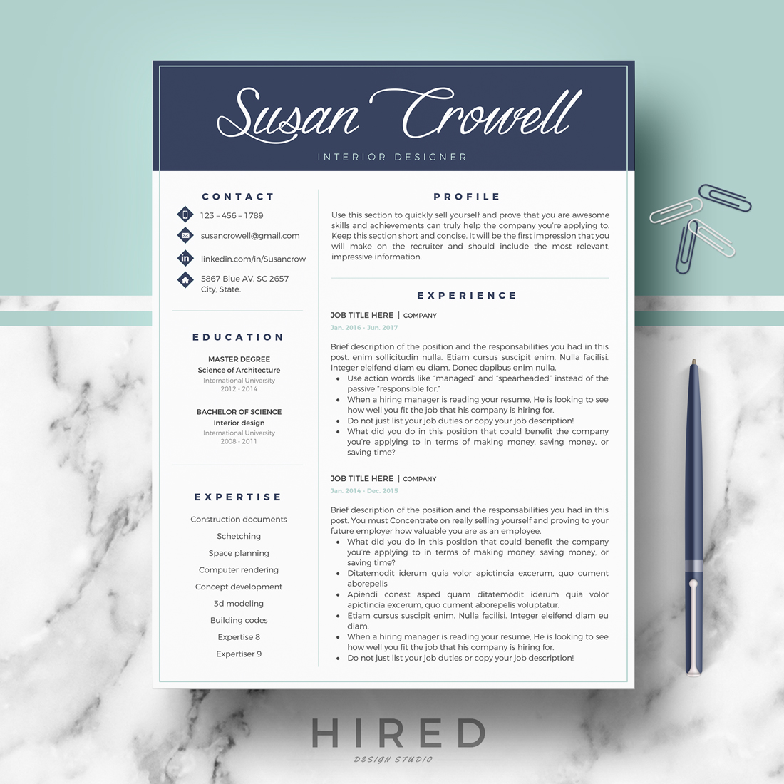 """Creative & Modern Resume Template for MS Word: """"Susan"""""""