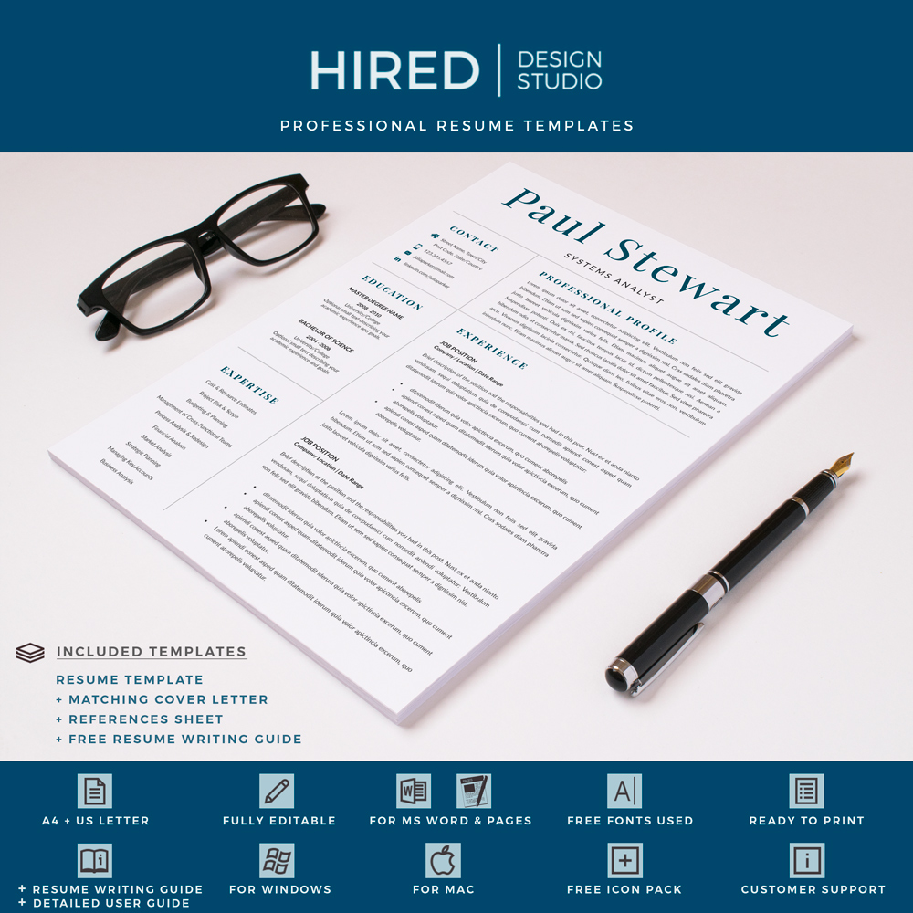 """Professional & Modern Resume Template for MS Word: """"Paul"""""""