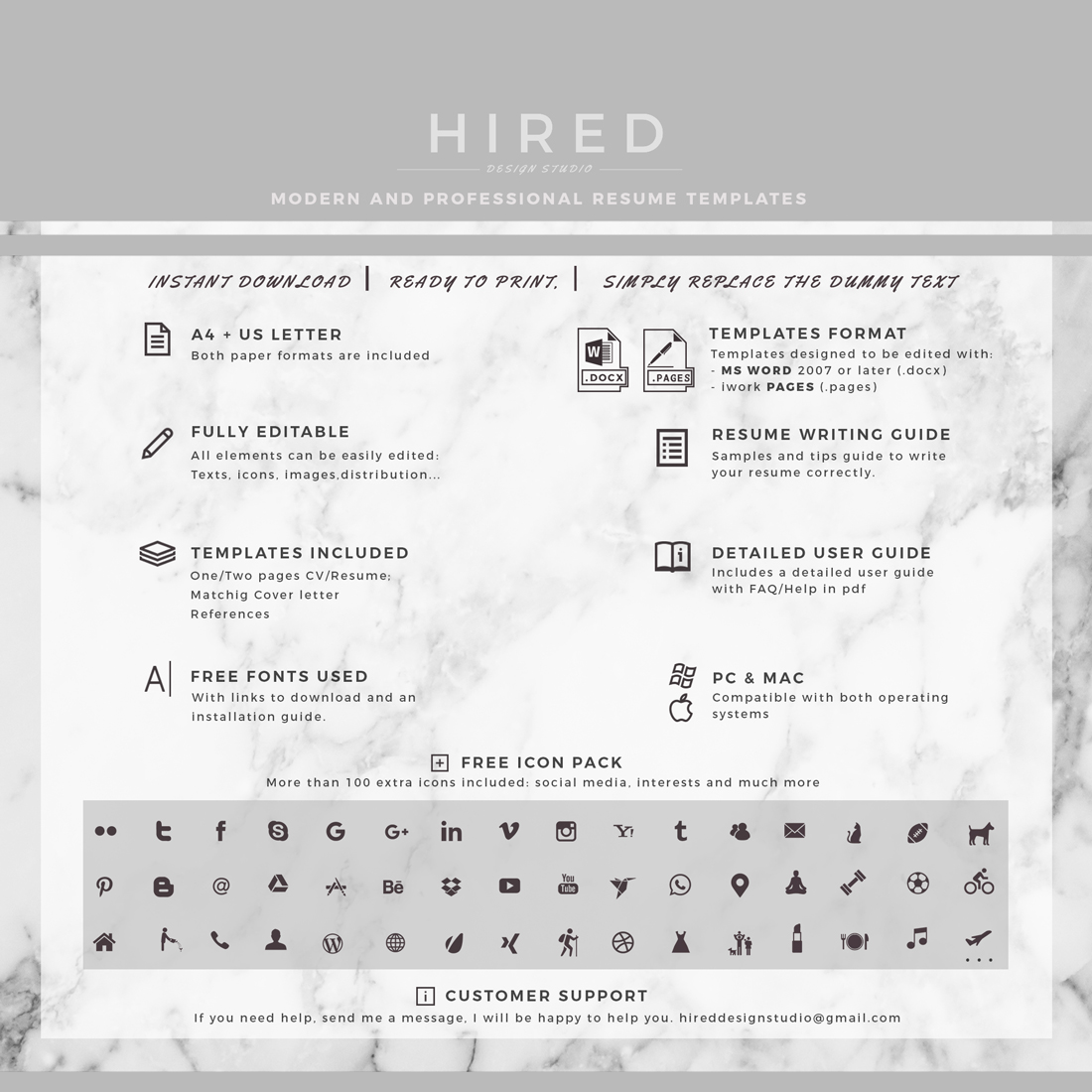 """Modern & Professional Resume Template for MS Word: """"Robert"""""""