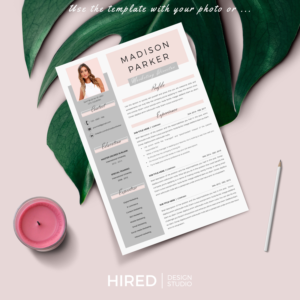 """Creative & Modern Resume Template for MS Word: """"Madison"""""""