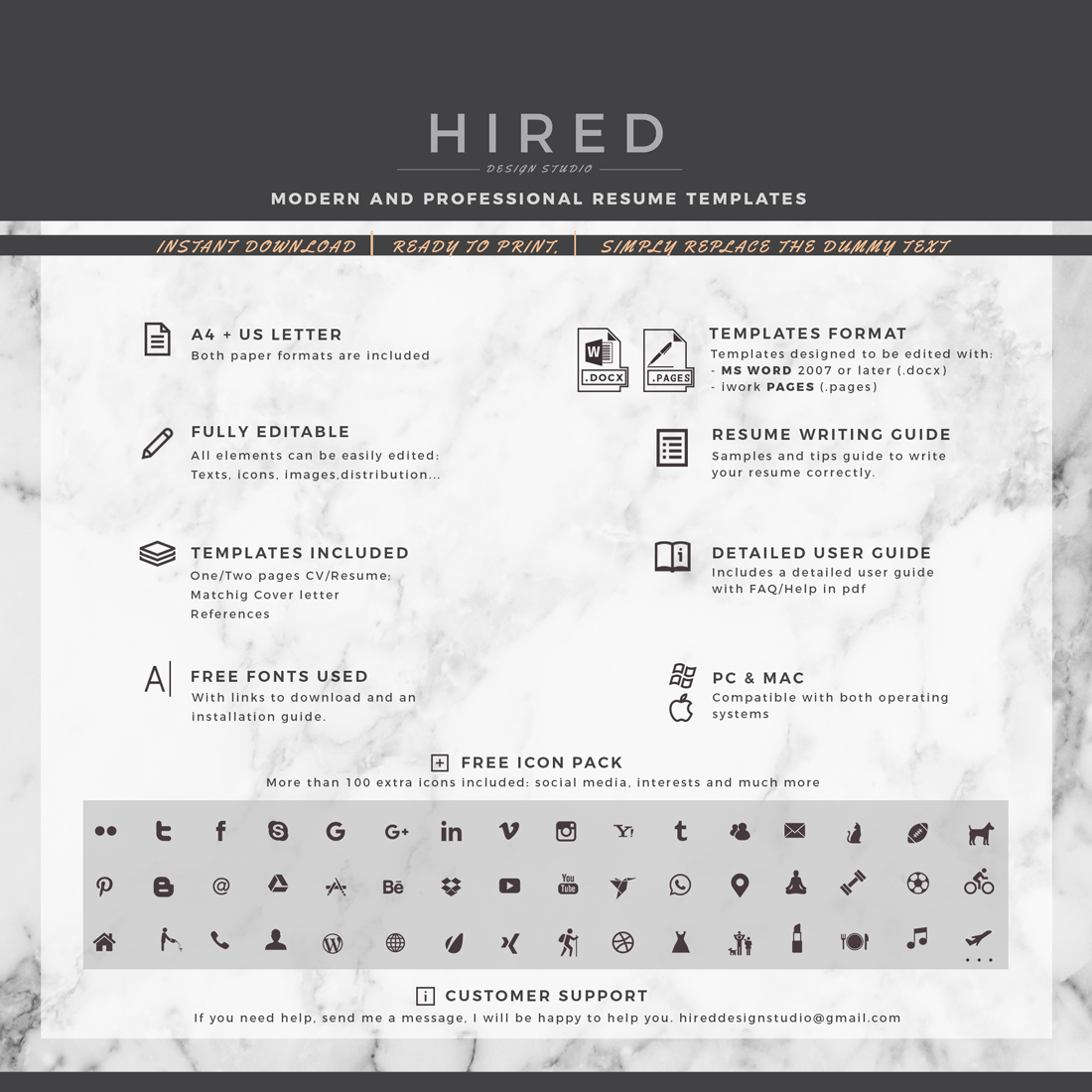 """Modern Resume Template for MS Word: """"Emma"""""""