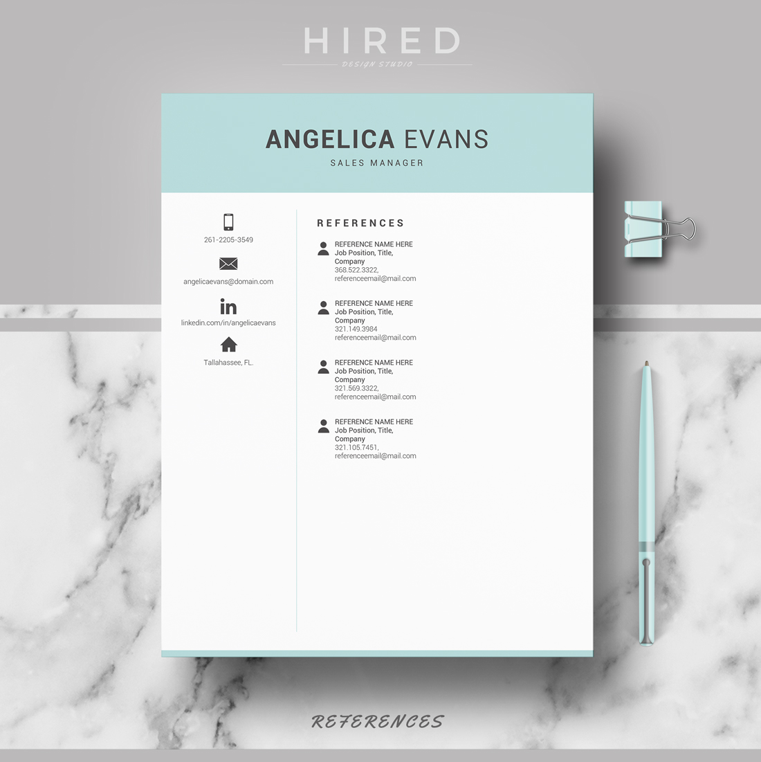 """Professional & Modern Resume Template for MS Word: """"Angelica"""""""