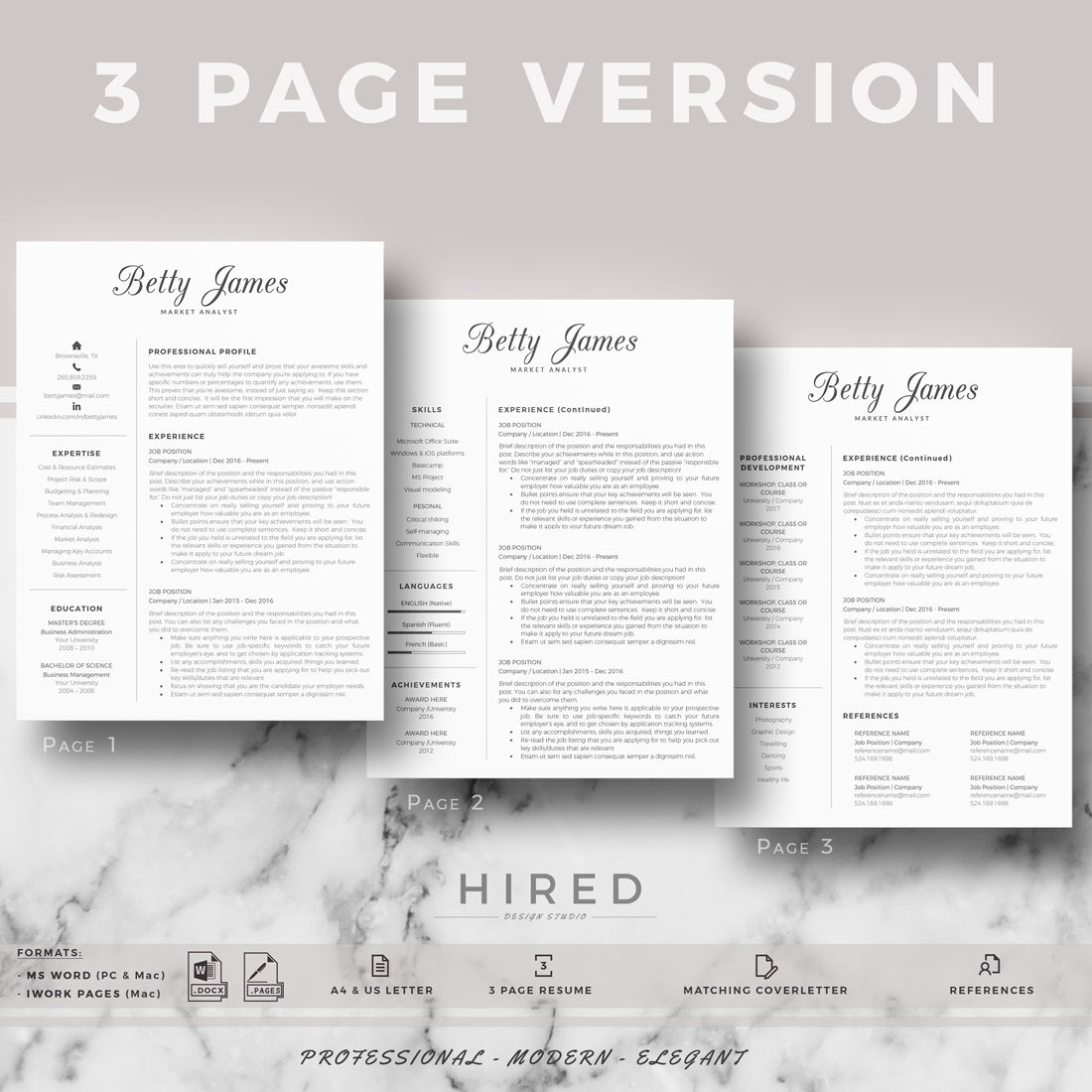 """Professional & Modern Resume Template for MS Word: """"Betty"""""""