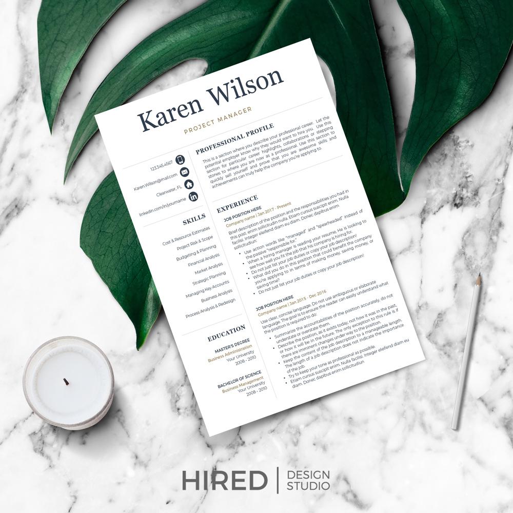 "Professional Resume Template for MS Word: ""Karen"""