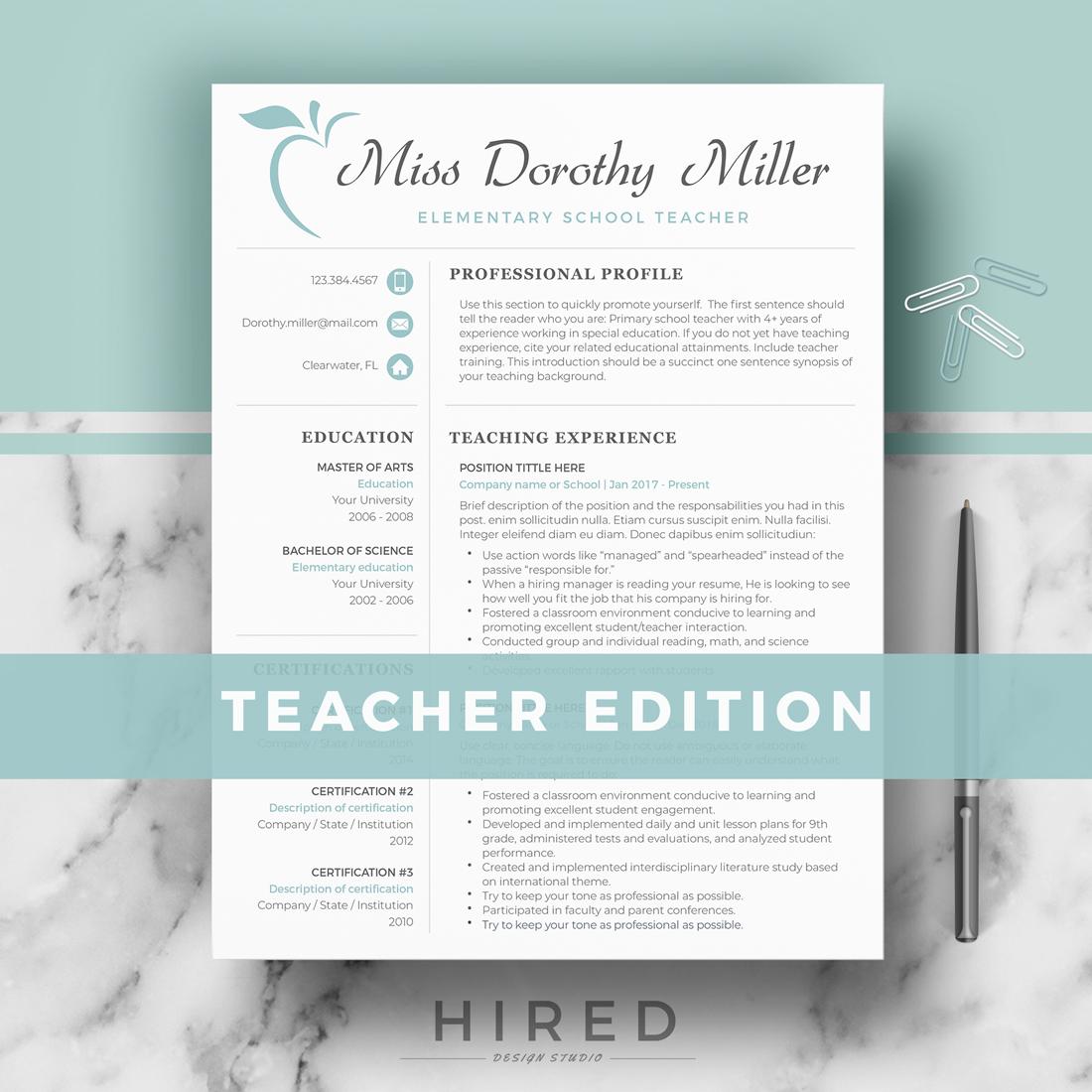 "Teacher Resume Template for MS Word: ""Miss Dorothy"""