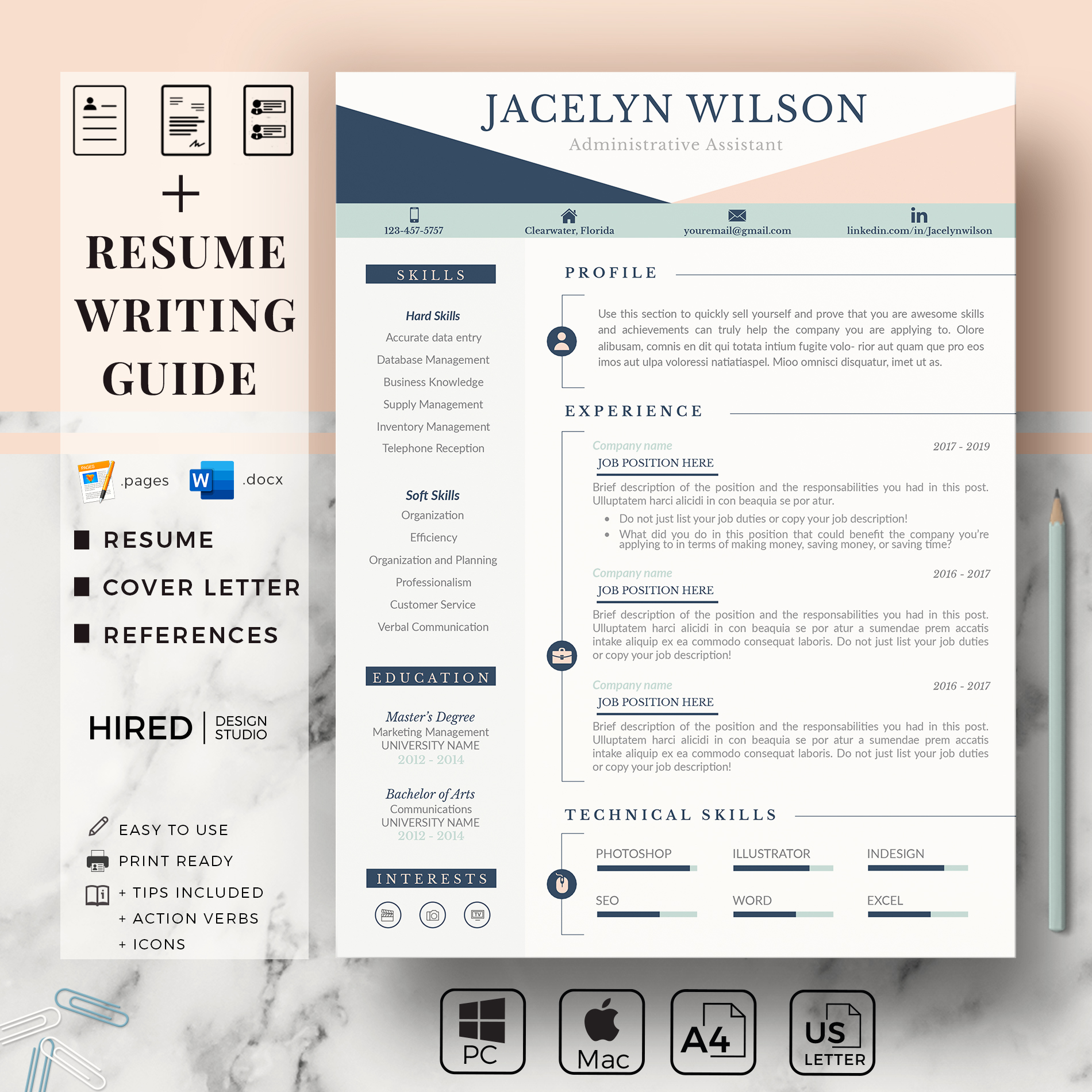 """Administrative Resume Template for MS Word: """"Jacelyn"""""""