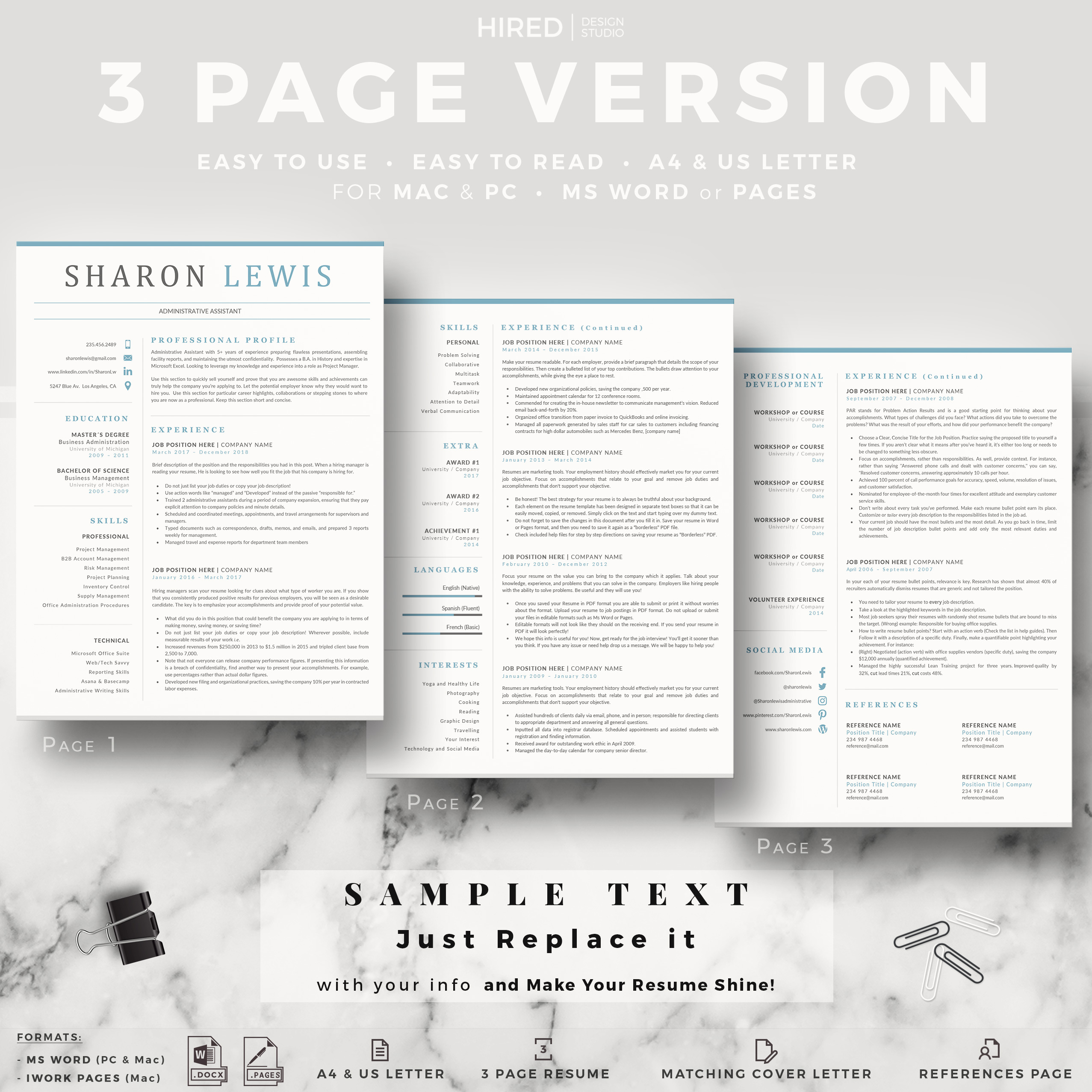 """Administrative Resume Template for MS Word: """"Sharon"""""""