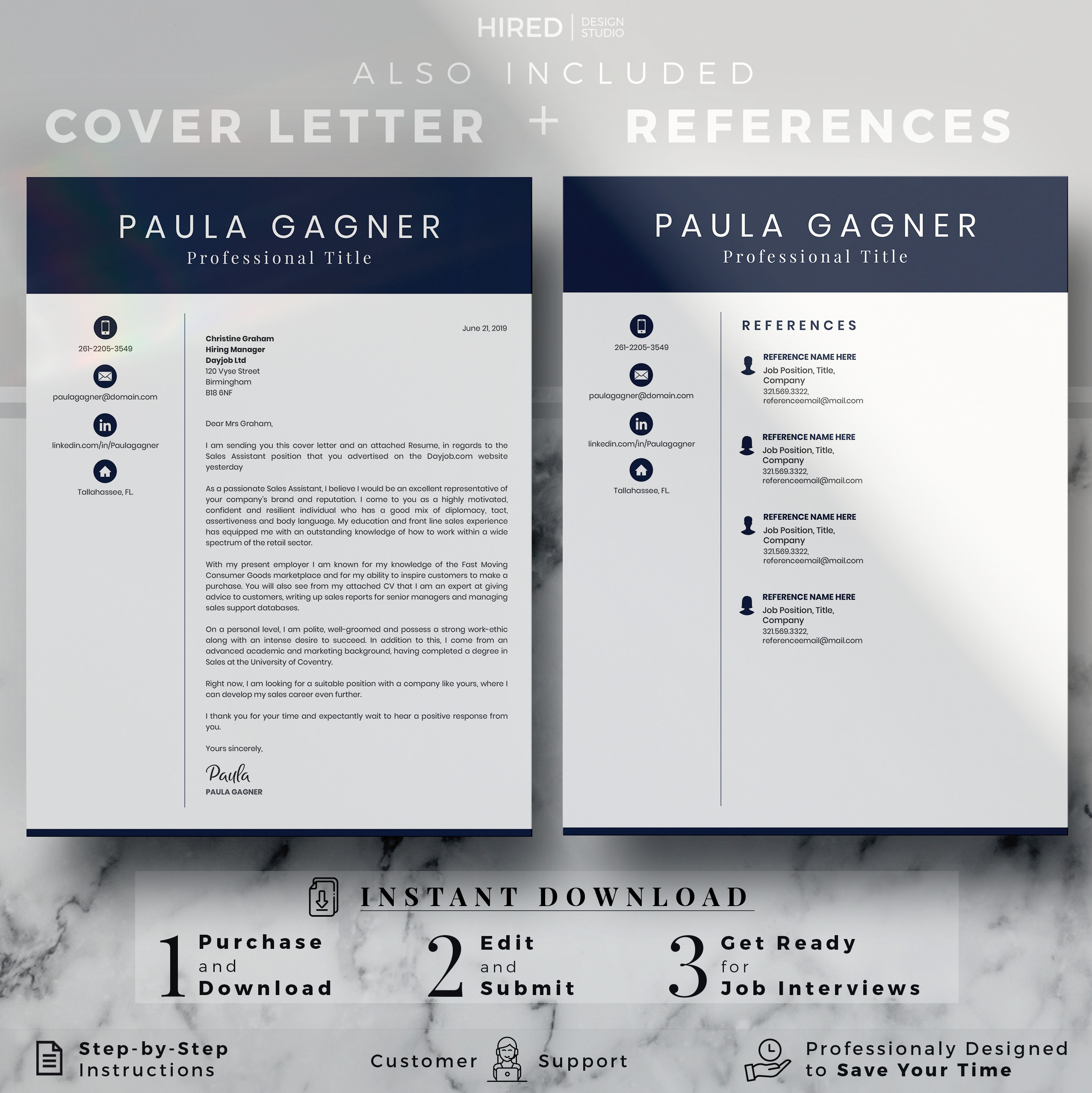 """Professional Resume Template for MS Word: """"Paula"""""""