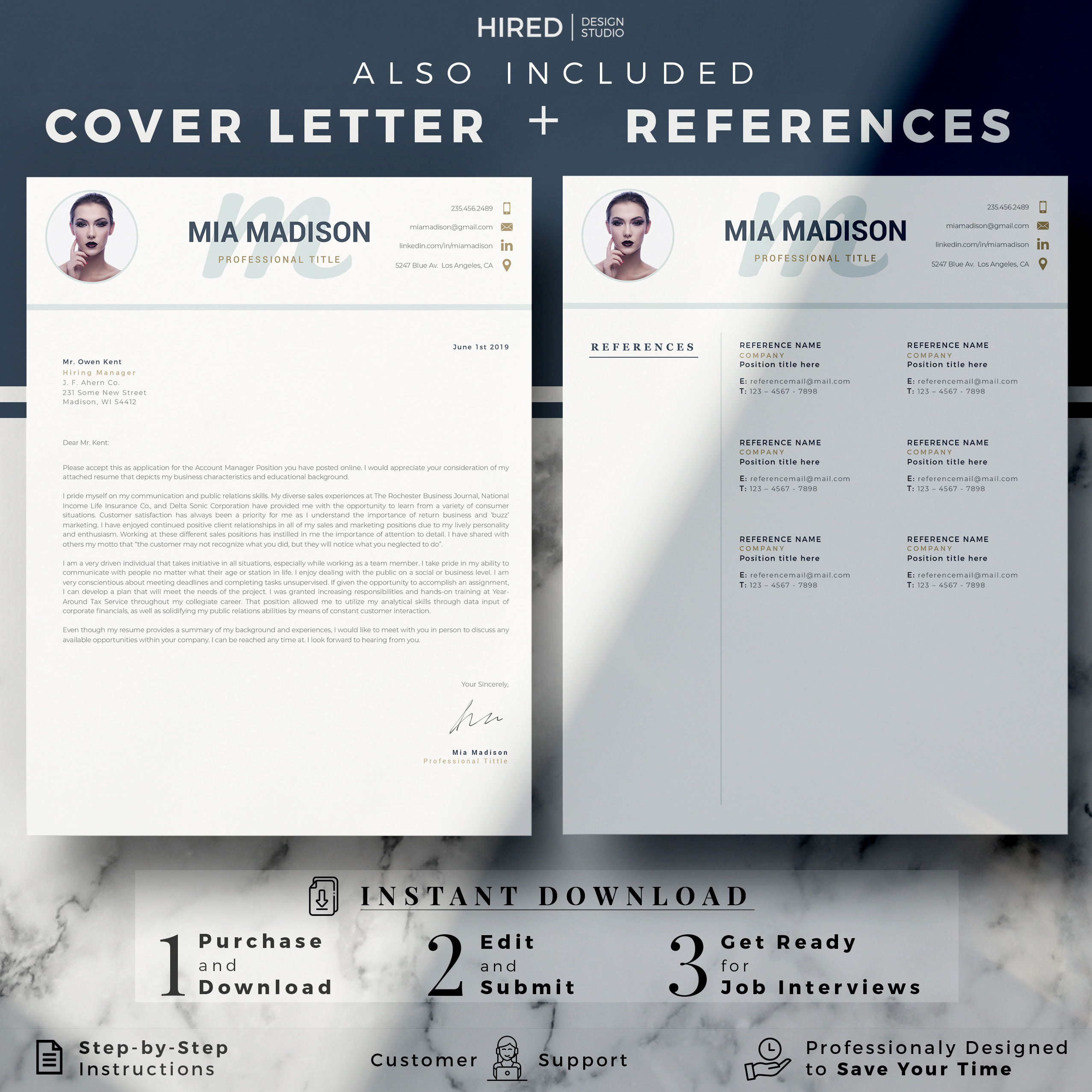 """Modern and Clean Resume Template for MS Word: """"Mia"""""""