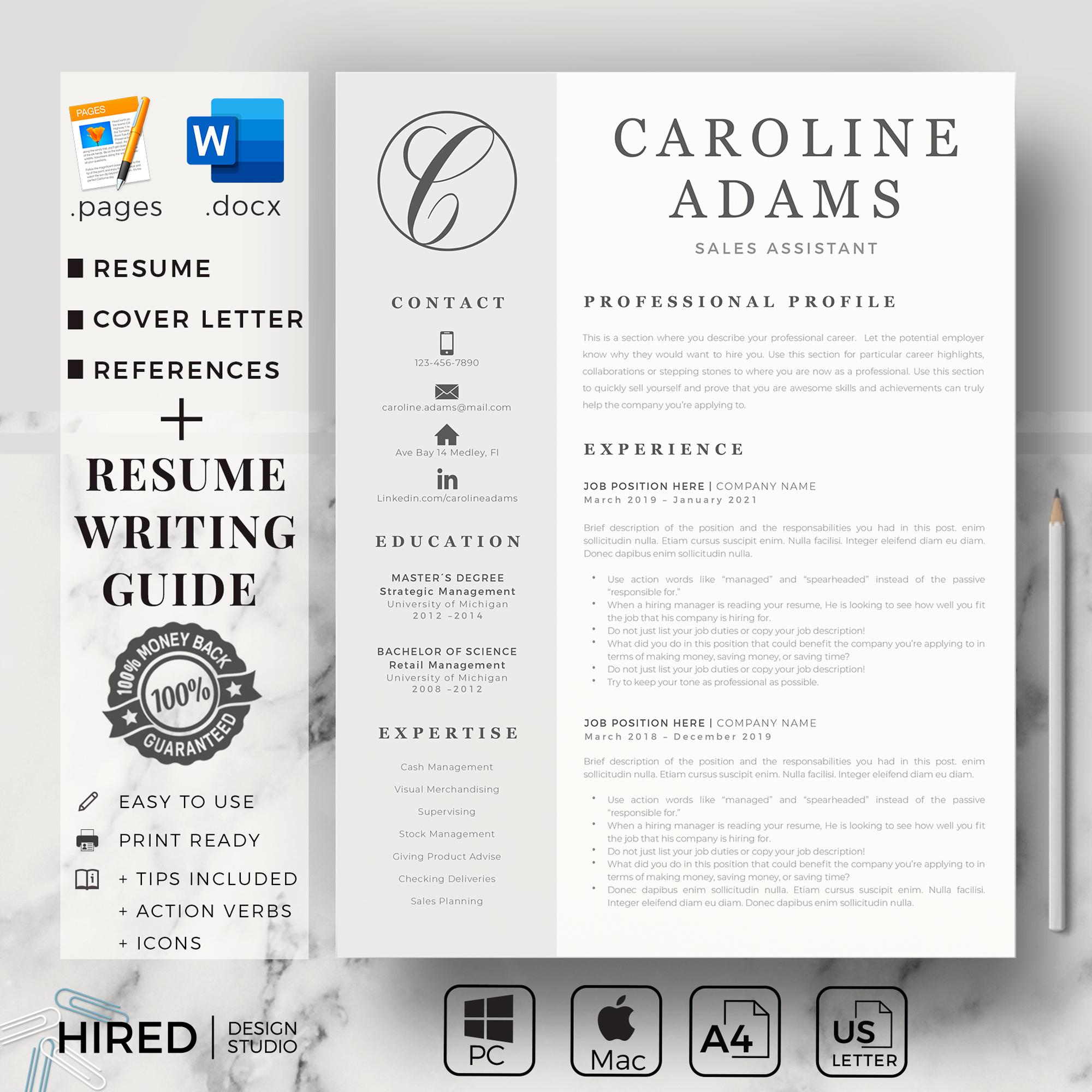 "Sales Resume Template for MS Word: ""Caroline"""