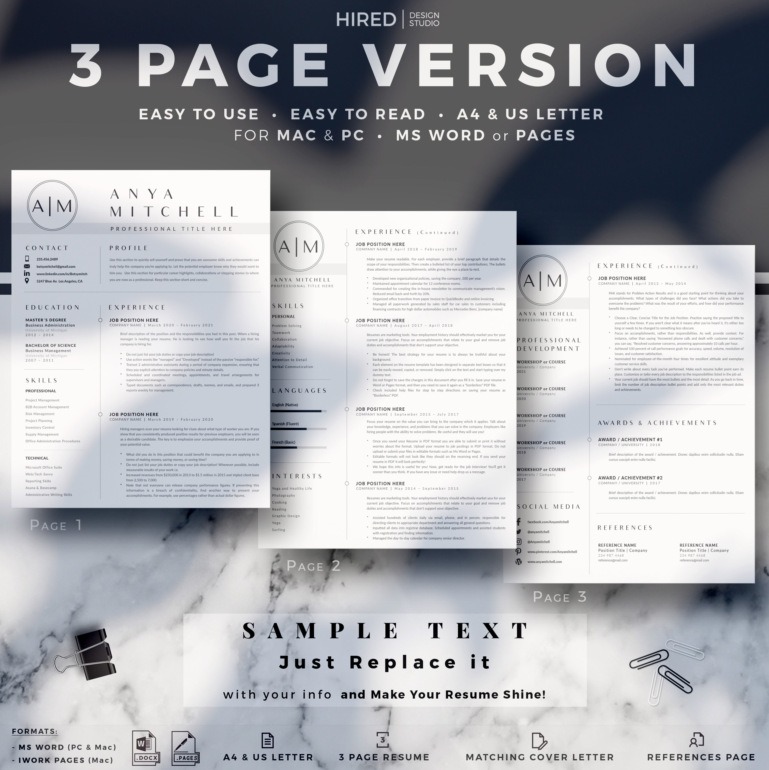 """Creative & Professional Resume Template for MS Word: """"Anya"""""""