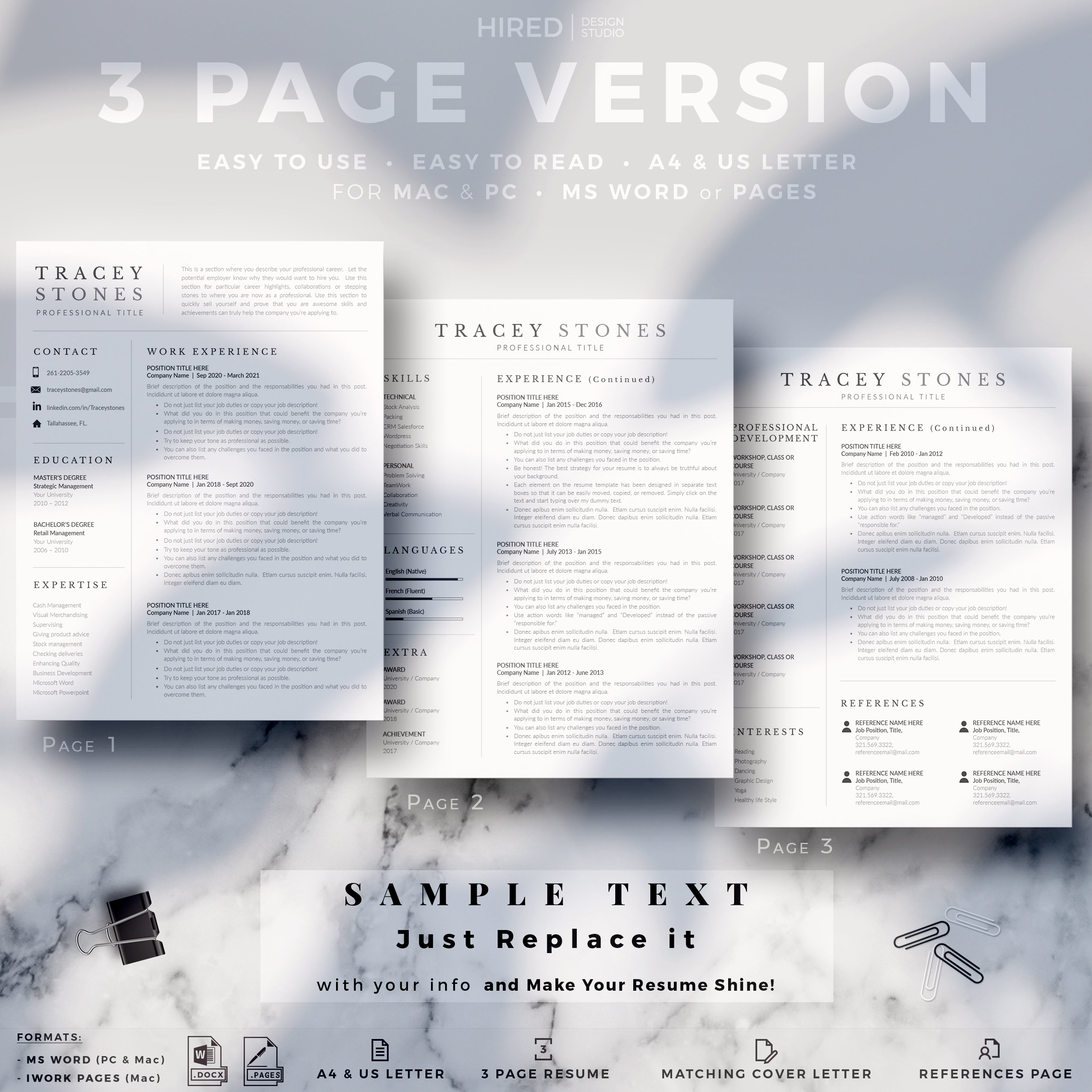 """Professional Resume Template for MS Word: """"Tracey"""""""