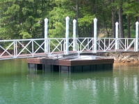 Lake Lanier Islands wedding pavilion bridge floater